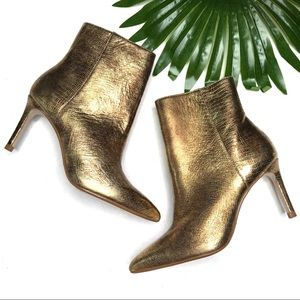 ZARA | sz 37 gold heeled booties